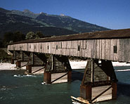 Ponte in legno e Reno presso Sevelen