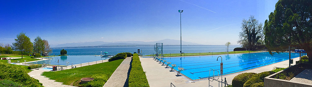 outdoor pool colovray in nyon schweiz mobil wanderland
